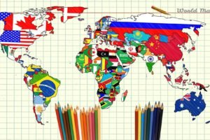map, World, Pencils, Paper, Continents