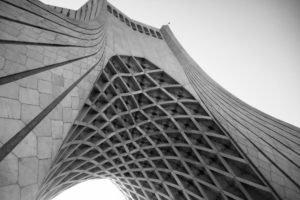 Iran, Tehran, City, Azadi Square, Monochrome, Architecture