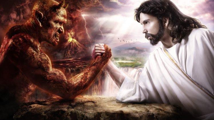 Arm Wrestling Devils Jesus Christ Hd Wallpapers Desktop And
