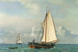 painting, Ship, Boat, Classic art