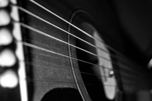 guitar, Depth of field, Monochrome