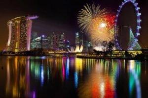 reflection, Cityscape, Ferris wheel, Fireworks, Skyscraper, Water, Singapore, Marina Bay