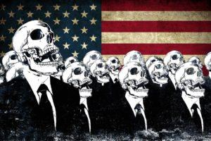 skeleton, Skull, Smoking, Flag, USA, Alex Cherry