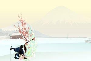 simple background, Japan, Samurai, Katana
