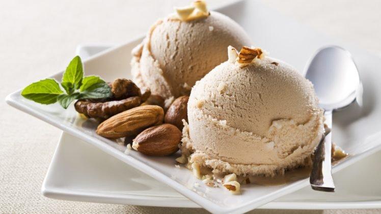 food, Ice cream, Desserts, Nuts, Spoons, Walnuts HD Wallpaper Desktop Background