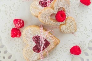 cookies, Hearts, Raspberries, Food