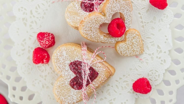 cookies, Hearts, Raspberries, Food HD Wallpaper Desktop Background