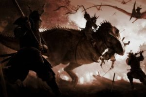 samurai, Katana, Dinosaurs, Bows