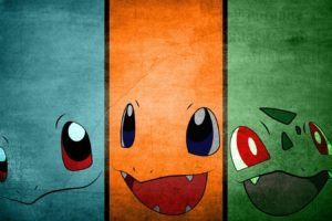 Pokemon, Minimalism, Squirtle, Bulbasaur, Charmander, Simple background
