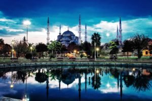 Turkey, Islamic architecture, Reflection, Sultan Ahmed Mosque, Istanbul, Mosques