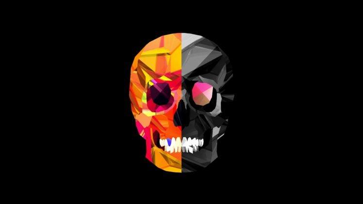 skull, Justin Maller, Black HD Wallpaper Desktop Background