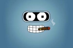 Futurama, Bender, Minimalism, Smoking