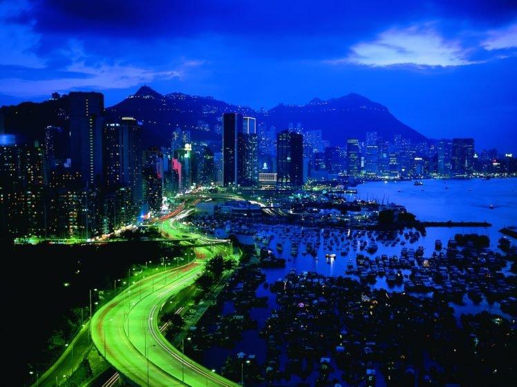road, Long exposure, Boat, Dock, Cityscape, Hill, Night, Light trails HD Wallpaper Desktop Background