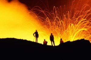 Hawaii, Eruption, Group of people, Smoke, Silhouette, Long exposure, Volcano, Lava