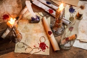 candles, Bottles, Table, Glasses, Wax, Wood, Feathers