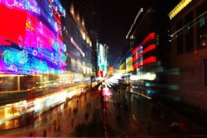 Chengdu, Light trails, Night, Blurred, Neon