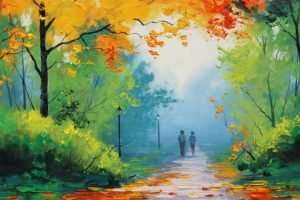 painting, Green, Yellow, Blue, Fall, Park, Path, Graham Gercken