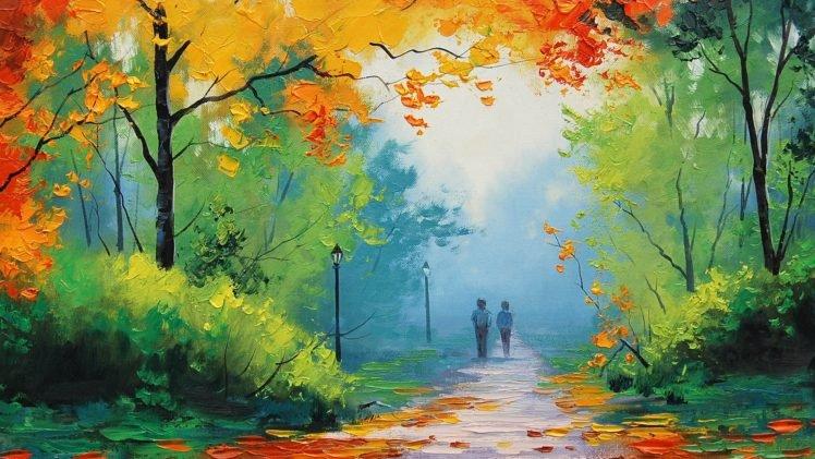 painting, Green, Yellow, Blue, Fall, Park, Path, Graham Gercken HD Wallpaper Desktop Background