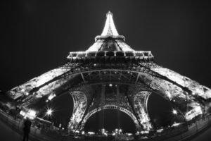Paris, Monochrome, Fisheye lens, Eiffel Tower
