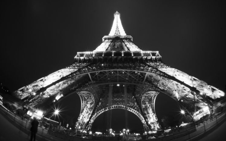 Paris Monochrome Fisheye Lens Eiffel Tower Hd Wallpapers