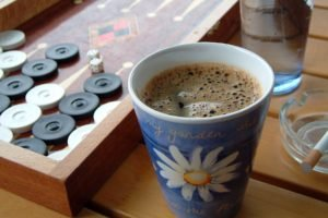 board games, Dice, Coffee, Cup, Wooden surface, Cigarettes