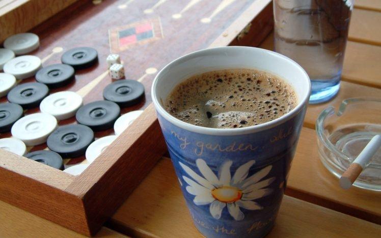 Board Games Dice Coffee Cup Wooden Surface Cigarettes HD Wallpaper Desktop