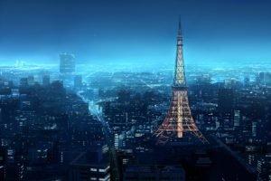city, Blue, Night