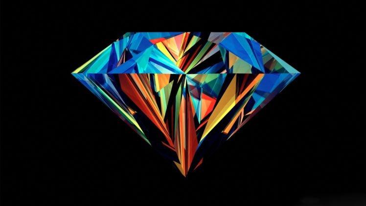Justin Maller, Diamonds, Facets, Black background HD Wallpaper Desktop Background