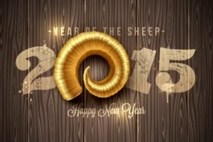 anime, New Year, Sheep, 2015, Horns, Wooden surface