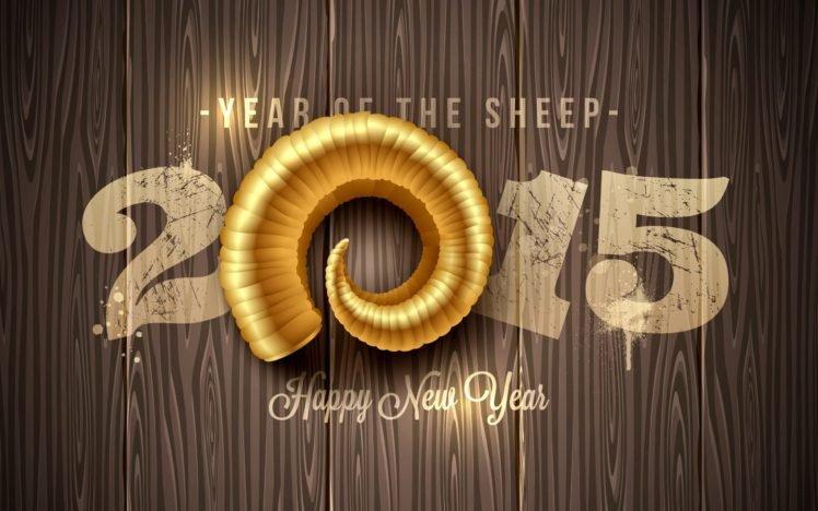 anime, New Year, Sheep, 2015, Horns, Wooden surface HD Wallpaper Desktop Background