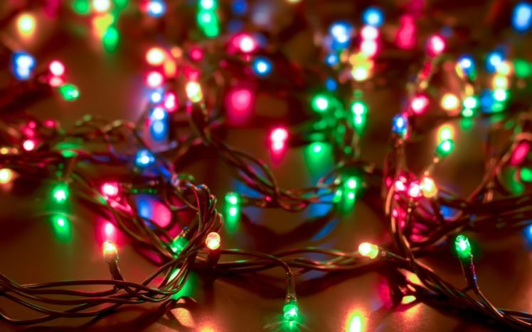 new year snow lights wires depth of field hd wallpaper desktop background