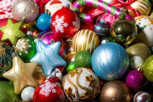New Year, Snow, Christmas ornaments, Decorations