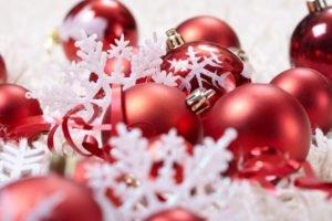 New Year, Christmas ornaments, Snowflakes, Ribbon