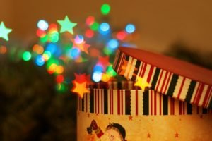 New Year, Snow, Bokeh, Stars, Boxes