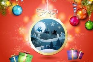 New Year, Snow, Christmas ornaments, Presents, Christmas sleigh