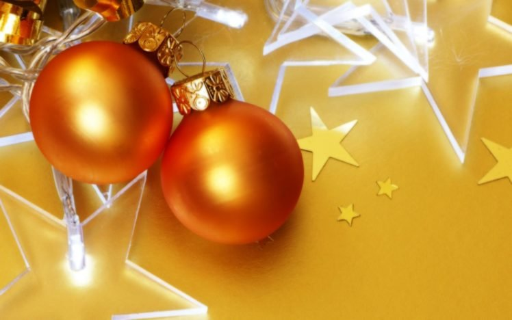 New Year, Snow, Christmas ornaments, Stars HD Wallpaper Desktop Background