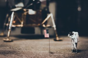 astronaut, Macro, American flag, Depth of field