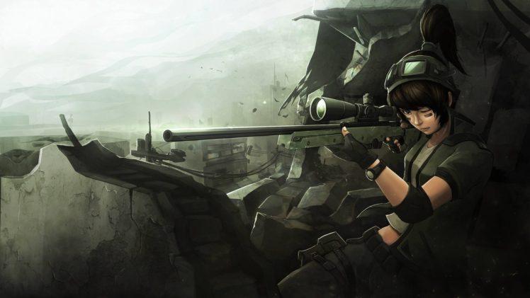 sniper rifle, War, Anime HD Wallpapers