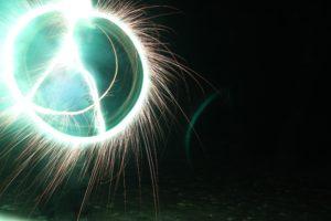 fireworks, Long exposure, Peace, Green