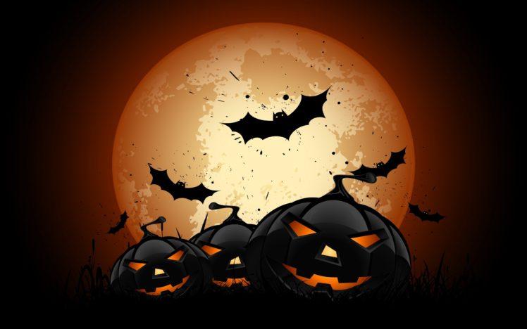 Halloween Bats Pumpkin Moon Hd Wallpapers Desktop And