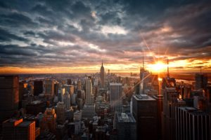 Sun, Urban, City, Manhattan