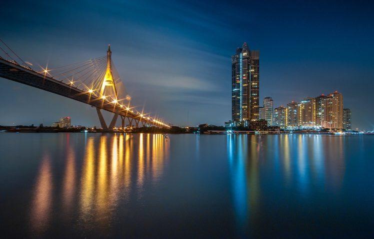 city, Lights, Water, Bridge HD Wallpaper Desktop Background