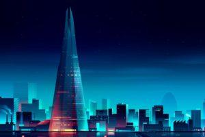cityscape, Night, Stars