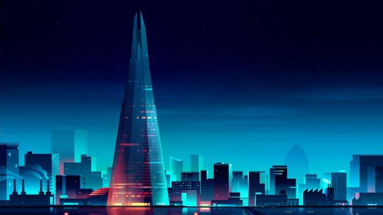 cityscape, Night, Stars HD Wallpaper Desktop Background