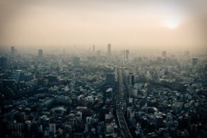 Tokyo, Japan, City, Dusk, Smog