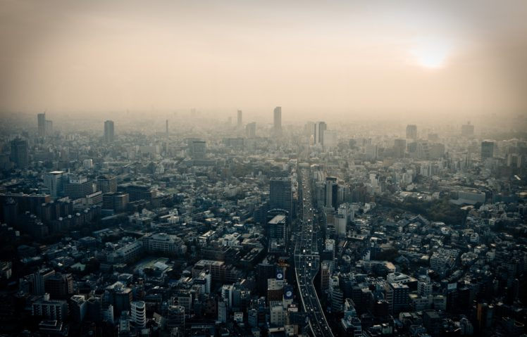Tokyo, Japan, City, Dusk, Smog HD Wallpaper Desktop Background