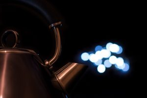 tea pot, Metal, Bokeh