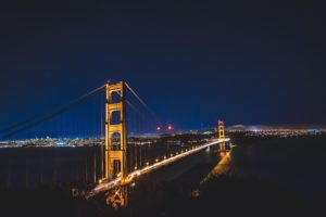 bridge, Night, Lights, San Francisco, City