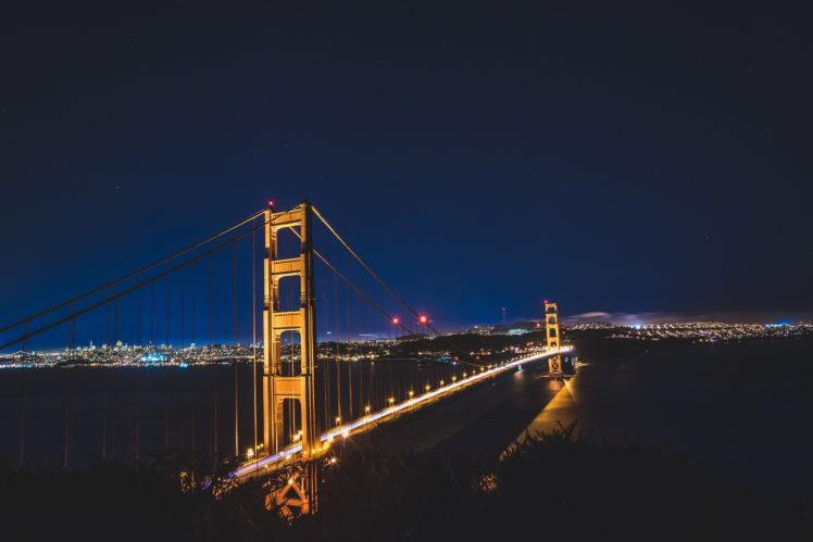 bridge, Night, Lights, San Francisco, City HD Wallpaper Desktop Background