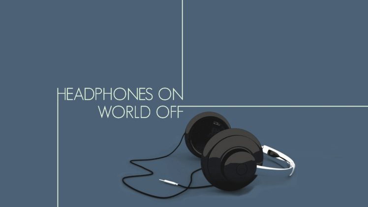 minimalism, Illustration, Headphones, Blue background HD Wallpaper Desktop Background
